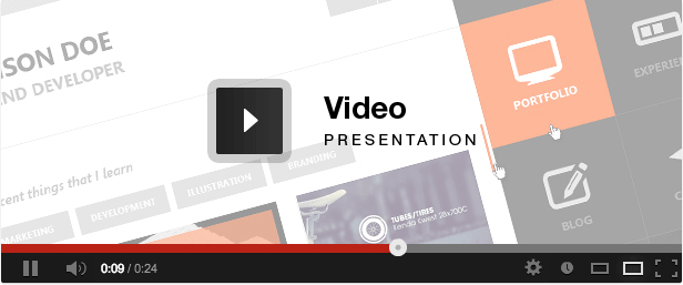 Flat Resume - Virtual Business Card HTML HD Video Presentation