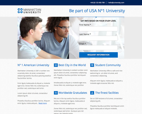 Manhattan Education Unbounce Template